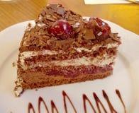 Czereśniowy czekoladowy tort, różnorodni typy deser i ciasto, zdjęcia royalty free
