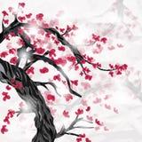 Czereśniowy drzewo i kwiaty z przestrzenią dla teksta ilustracja wektor