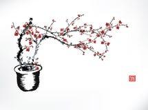 Czereśniowy garnka atramentu obraz ilustracja wektor