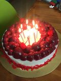 Czereśniowy malinowy cheesecake obrazy stock