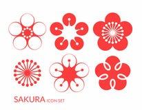 Czereśniowy okwitnięcie Sakura Ikona set royalty ilustracja