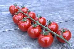 Czereśniowi pomidory na drewnianym tle Obraz Stock