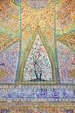 Czerep ściana Vakil meczet w Shiraz Antyczny zabytek architektura w Iran obraz royalty free