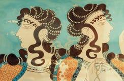 Czerep antyczni ścienni obrazy Pałac Knossos, Cre Zdjęcia Royalty Free