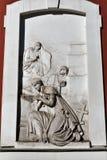 Czerep antyczny religijny barelief na ?cianie ko?ci?? St Panteleimon w St Petersburg, Rosja obraz royalty free