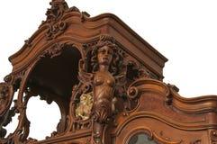 Czerep antyczny rzeźbiący meblarski zbliżenie odizolowywający na a z tłem Obraz Stock