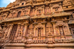Czerep bareliefu wierza Brihadishvara Hinduska świątynia, India, obrazy stock
