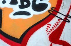 Czerep barwioni uliczni sztuka graffiti obrazy z konturami i podcieniowanie zamkni?ty w g?r? zdjęcia royalty free