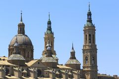 Czerep bazylika Nuestra Senora Del Pilar, Zaragoza, Hiszpania obrazy royalty free
