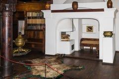 Czerep biblioteka Otrębiasty kasztel w Otrębiastym mieście w Rumunia Zdjęcia Stock