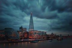 Czerep burza Londyn od wierza mosta zdjęcia stock