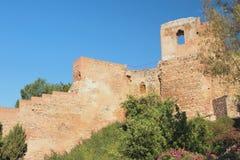 Czerep ściana antyczny forteca Alcazaba Malaga, Hiszpania obrazy royalty free