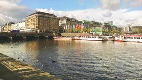 Czerep część miasto Hamburg i most, Niemcy obrazy stock