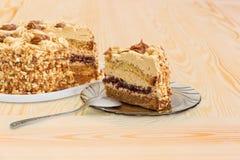 Czerep częsciowo ciący płatowaty gąbka tort zdjęcie stock