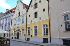 Czerep dom bractwo zaskórniki w starym Tallinn obraz royalty free