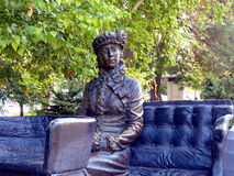 Czerep rzeźby ` Niewiadoma kobieta w kareciany ` zbliżenie Parkowa aleja Novorossiysk, Rosja Obraz Royalty Free