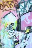 Czerep stara ściana z kolorowym graffiti obrazem ilustracja wektor