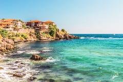 Czerep stary miasteczko Sozopol, Bułgaria Widok zatoka na Czarnym morzu w miasteczku obrazy royalty free