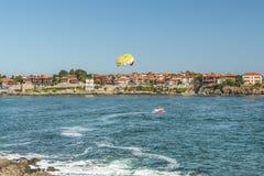 Czerep stary miasteczko Sozopol, Bułgaria Widok zatoka na Czarnym morzu w miasteczku Fotografia Stock