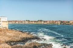 Czerep stary miasteczko Sozopol, Bułgaria Widok zatoka na Czarnym morzu w miasteczku Zdjęcie Royalty Free