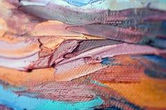 czerep Stubarwny tekstura obraz sztuki abstrakcjonistycznej tło Olej na kanwie Szorstcy brushstrokes farba Zbliżenie paintin zdjęcia stock