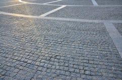 Czerep uliczny kwadrat, fałdowy z szarego kwadratowego pavin Obraz Royalty Free