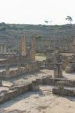 Czerep z kamiennymi ruinami agora w Kamiros na słonecznym dniu Zdjęcia Royalty Free