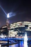 Czerepu budynek w Londyn - lekki przedstawienie w sylwesterze 2015 Zdjęcia Stock