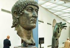Czerepy brązowa statua Constantine Wielki w Rzym Zdjęcia Royalty Free