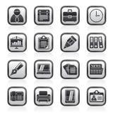 Czerni białe biznesowe i Biurowe ikony Fotografia Stock