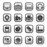 Czerni białe komputerowych urządzeń peryferyjnych i akcesoriów ikony Fotografia Stock