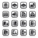 Czerni białego związku, komunikaci i telefonu komórkowego ikony, Obrazy Royalty Free