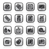 Czerni biel części komputerowe ikony Fotografia Royalty Free