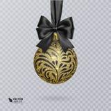 Czerni, Bożenarodzeniowa piłka dekorująca z realistycznym czarnym łękiem i ornament błyszczący, złocisty, również zwrócić corel i ilustracji