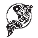 Czerni graphically rysować ryba Obrazy Royalty Free
