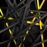 Czerni i koloru żółtego lampasów techniki abstrakcjonistyczny tło Zdjęcie Stock