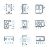 Czerni i niebieskiej linii conditioners lotnicze ikony ilustracja wektor