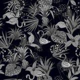 Czerni i popielaci Tropikalni kwiaty, palma liście, dżungli rośliny, bir ilustracja wektor