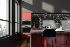 Czerni kuchnię z barem zamkniętym i wykłada marmurem w górę ilustracja wektor