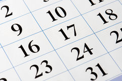 Czerni liczby kalendarz Zdjęcie Stock