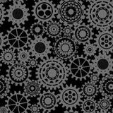 Czerni przekładnie, steampunk bezszwowy wzór Obrazy Stock