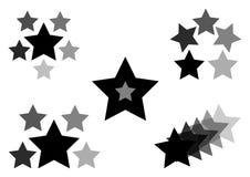 Czerni set ikony z gwiazdami, wektor ilustracja wektor