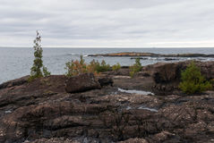 Czerni skały Presque wyspy park, Marquette, Michigan, usa Obrazy Stock