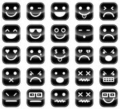 Czerni smiley ikony Fotografia Stock