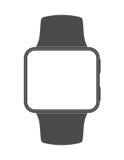 Czerni stawiającego czoło smartwatch z pustym ekranem na bielu Obrazy Royalty Free