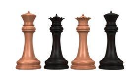 Czerni vs biała szachowa królewiątka tła 3 d ilustracja Surowy odpłaca się wysoka rozdzielczość Zdjęcia Stock