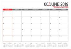 Czerwa 2019 biurka kalendarza wektoru ilustracja ilustracji