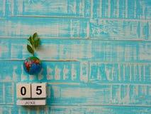 05 CZERWA blokowego kalendarza drewniana kula ziemska i stetoskop na błękitnym drewnie Obrazy Stock