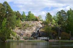 Czerwa dzień w Sapokka krajobrazu parku miasta Finland kotka krajobrazu parka skały sapokka widok Fotografia Stock
