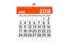Czerwa 2018 kalendarz, 3D rendering Fotografia Stock